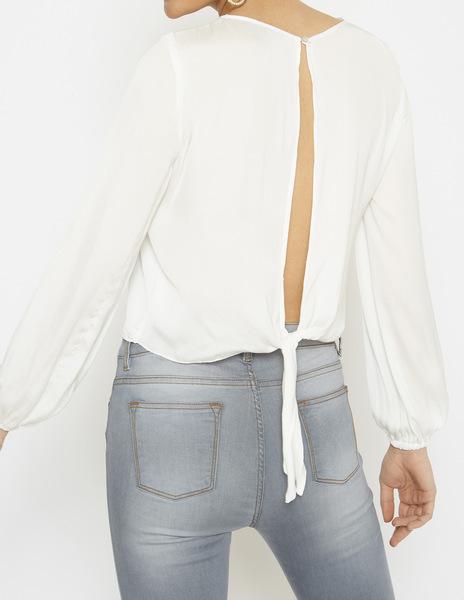 White bow back blouse