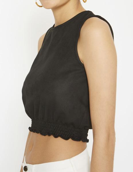 Black faux suede top