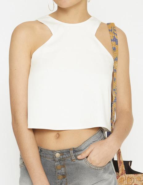 White v-neck halterneck top