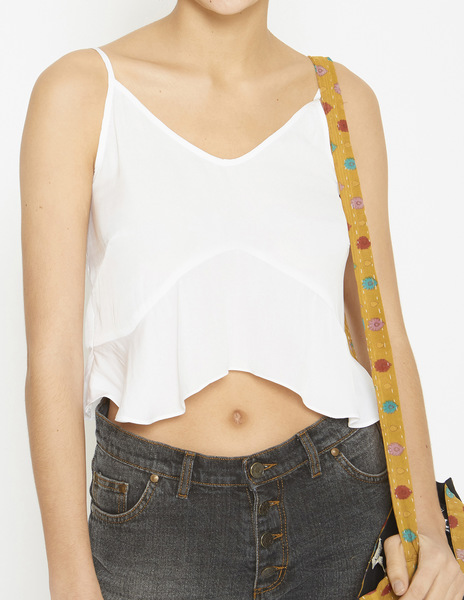 White strappy frilled top