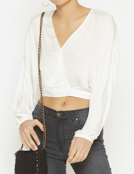 White crossover crop top