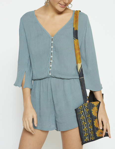 Turquoise bell sleeve playsuit